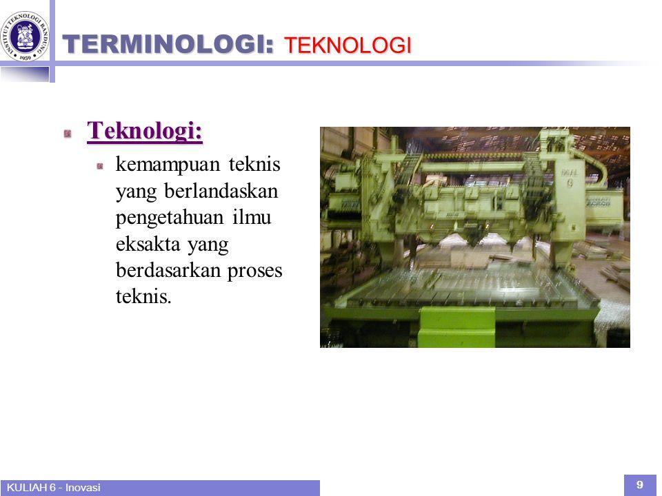 KULIAH 6 - Inovasi 9 TERMINOLOGI: TEKNOLOGI Teknologi: kemampuan teknis yang berlandaskan pengetahuan ilmu eksakta yang berdasarkan proses teknis.