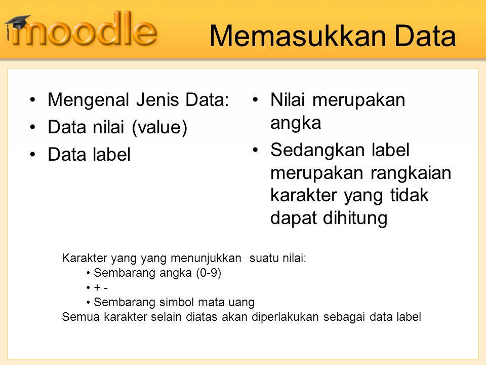 Memasukkan Data Mengenal Jenis Data: Data nilai (value) Data label Nilai merupakan angka Sedangkan label merupakan rangkaian karakter yang tidak dapat