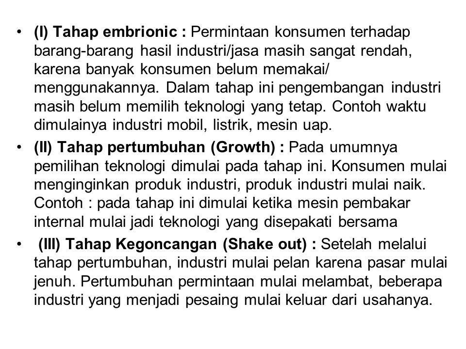 (I) Tahap embrionic : Permintaan konsumen terhadap barang-barang hasil industri/jasa masih sangat rendah, karena banyak konsumen belum memakai/ menggu