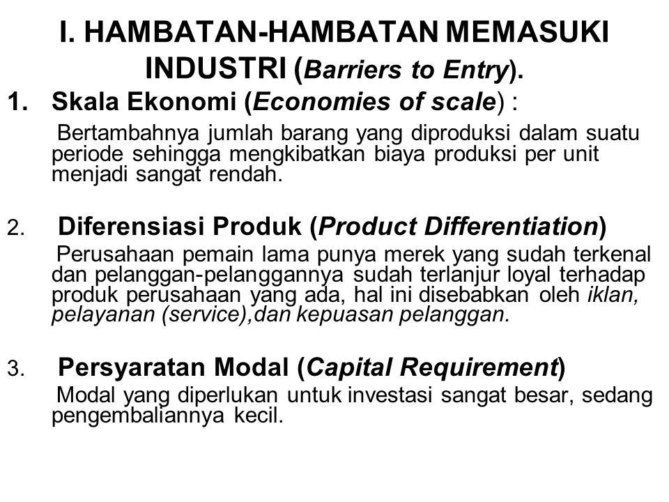 I. HAMBATAN-HAMBATAN MEMASUKI INDUSTRI ( Barriers to Entry). 1.Skala Ekonomi (Economies of scale) : Bertambahnya jumlah barang yang diproduksi dalam s