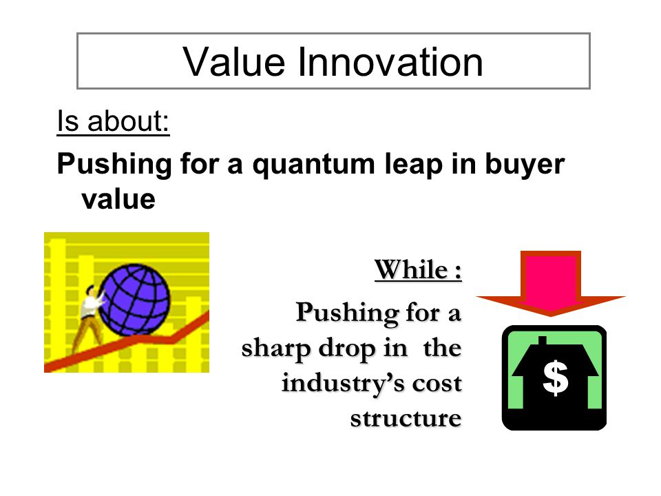 Value Innovation Is about: Pushing for a quantum leap in buyer value While : Pushing for a sharp drop in the industry's cost structure Pushing for a sharp drop in the industry's cost structure