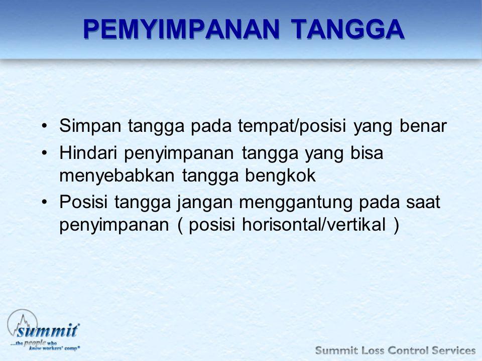 LADDER SAFETY Tujuan Tangga disediakan khusus untuk kondisi unsefe act dan unsafe condition.