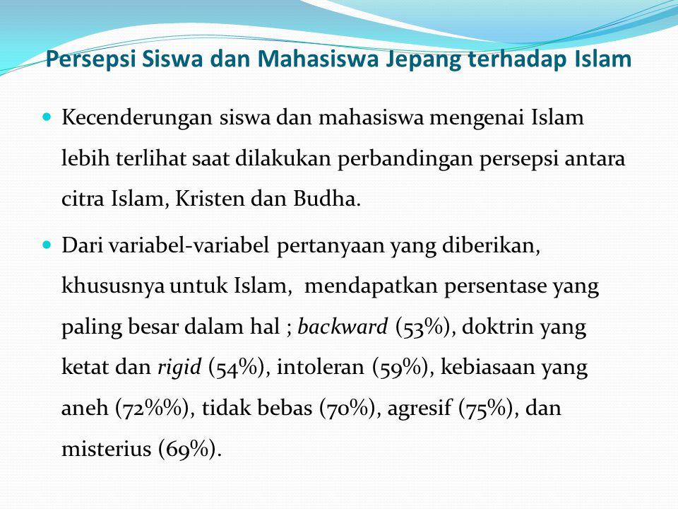 Persepsi Siswa dan Mahasiswa Jepang terhadap Islam Kecenderungan siswa dan mahasiswa mengenai Islam lebih terlihat saat dilakukan perbandingan perseps