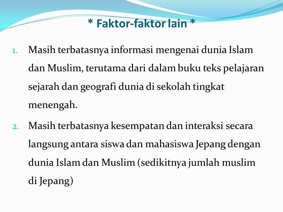 * Faktor-faktor lain * 1. Masih terbatasnya informasi mengenai dunia Islam dan Muslim, terutama dari dalam buku teks pelajaran sejarah dan geografi du