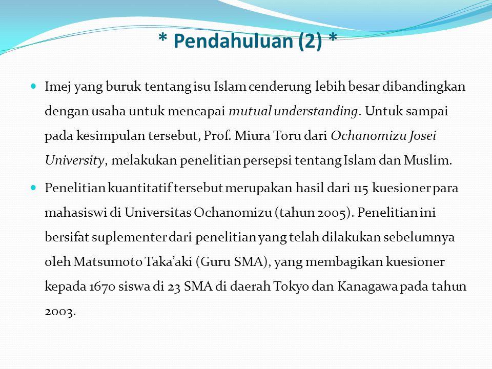 Mendeskripsikan persepsi siswa dan mahasiswa Jepang terhadap Islam dan Muslim.