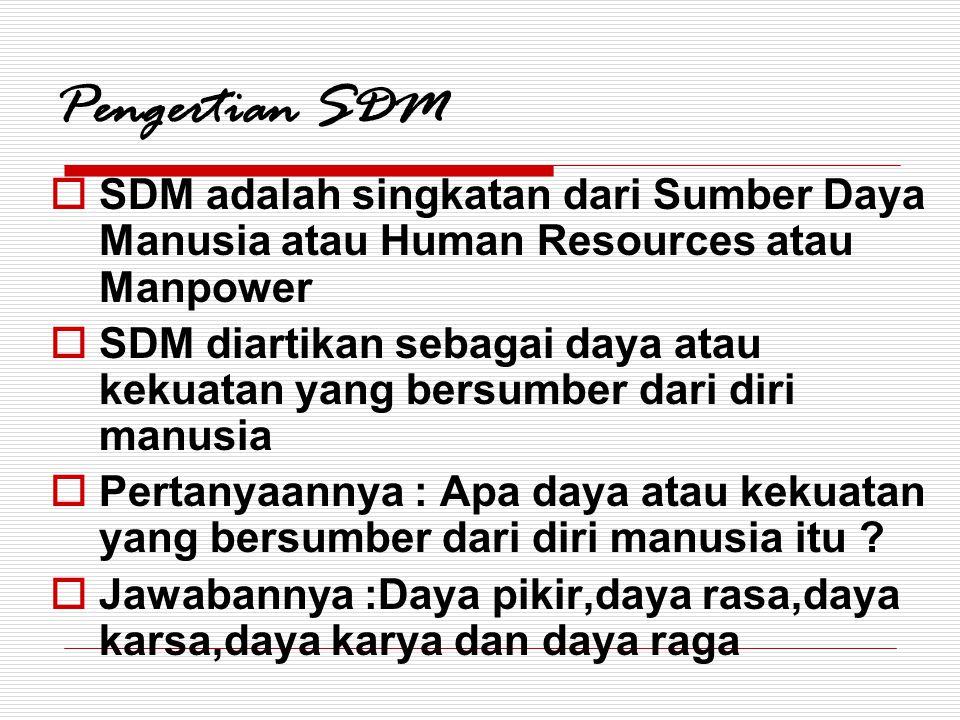 Pengertian SDM  SDM adalah singkatan dari Sumber Daya Manusia atau Human Resources atau Manpower  SDM diartikan sebagai daya atau kekuatan yang bers