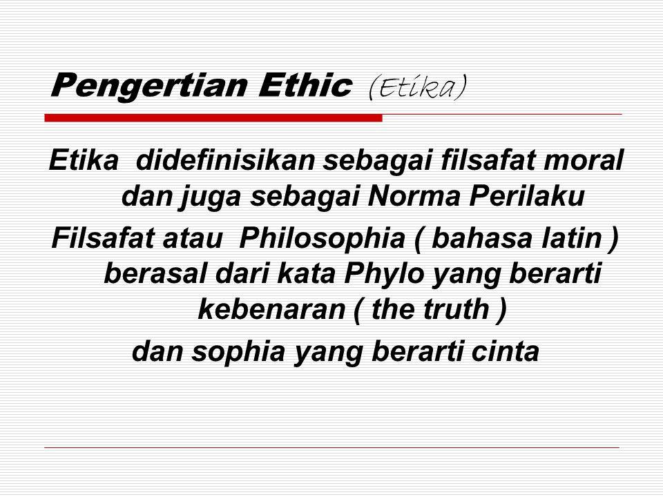 Pengertian Ethic (Etika) Etika didefinisikan sebagai filsafat moral dan juga sebagai Norma Perilaku Filsafat atau Philosophia ( bahasa latin ) berasal