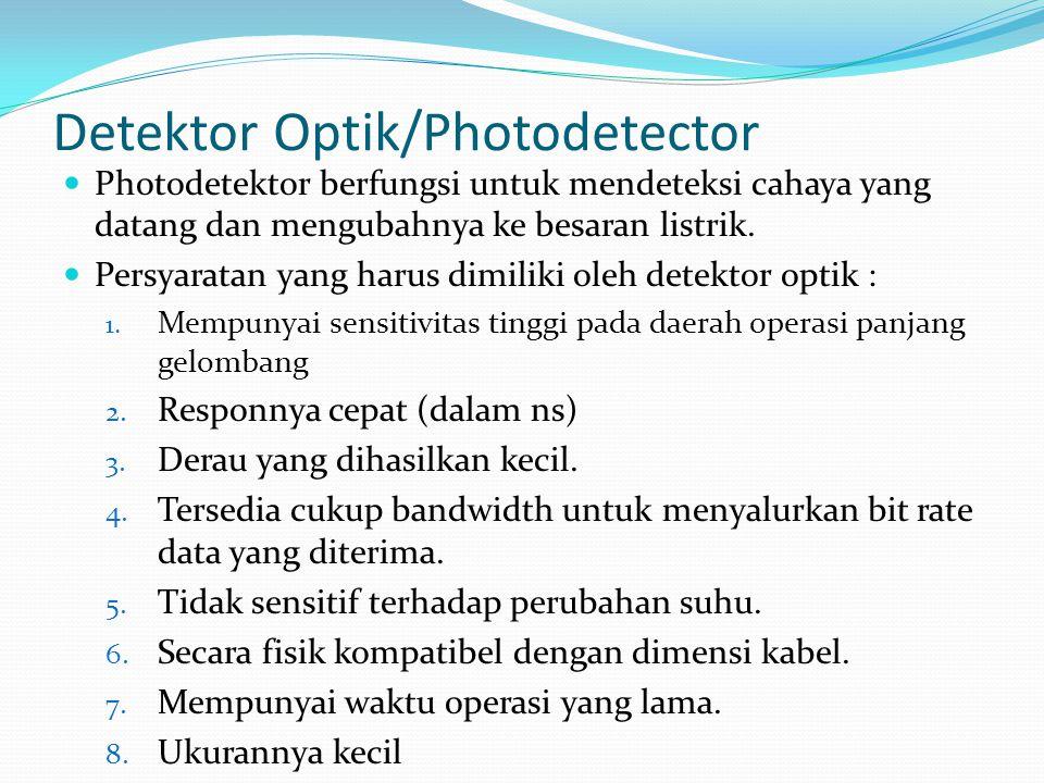 Detektor Optik/Photodetector Photodetektor berfungsi untuk mendeteksi cahaya yang datang dan mengubahnya ke besaran listrik. Persyaratan yang harus di