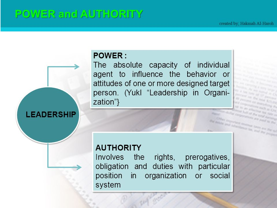 Leadership and Power Real differences in power, authority, responsibility, status, and privilege between leaders and members must be acknowledged.
