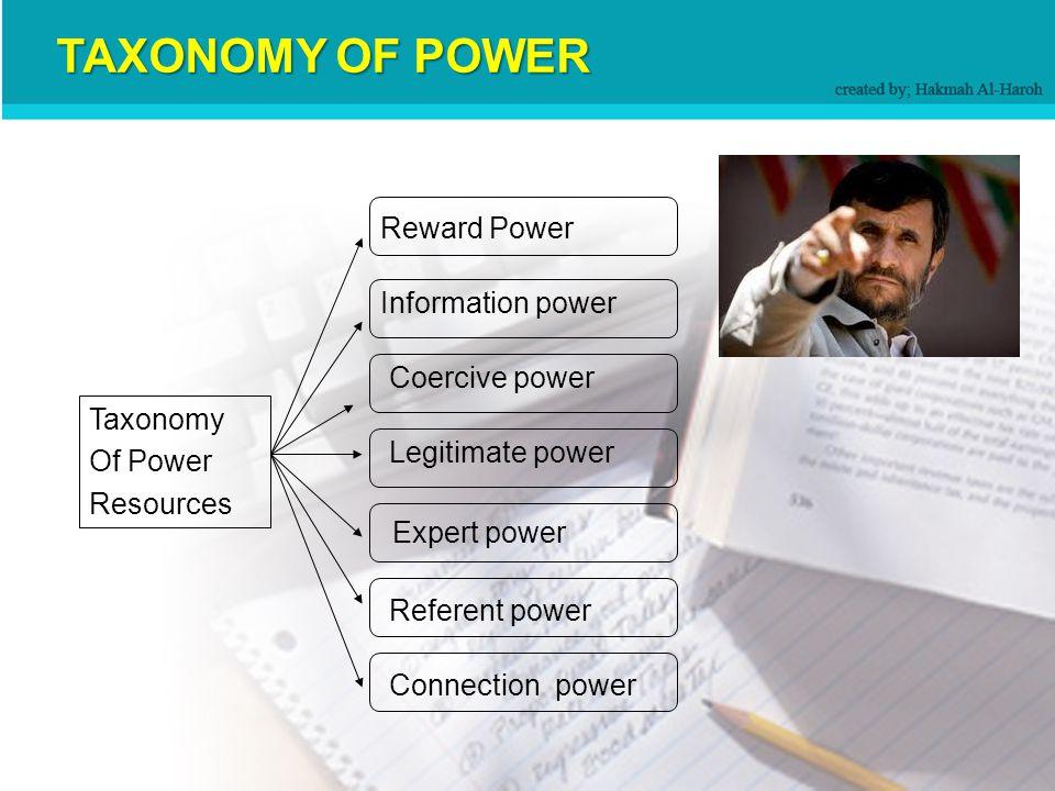 Taxonomy Of Power Resources Reward Power Coercive power Legitimate power Expert power Referent power Information power Connection power TAXONOMY OF POWER
