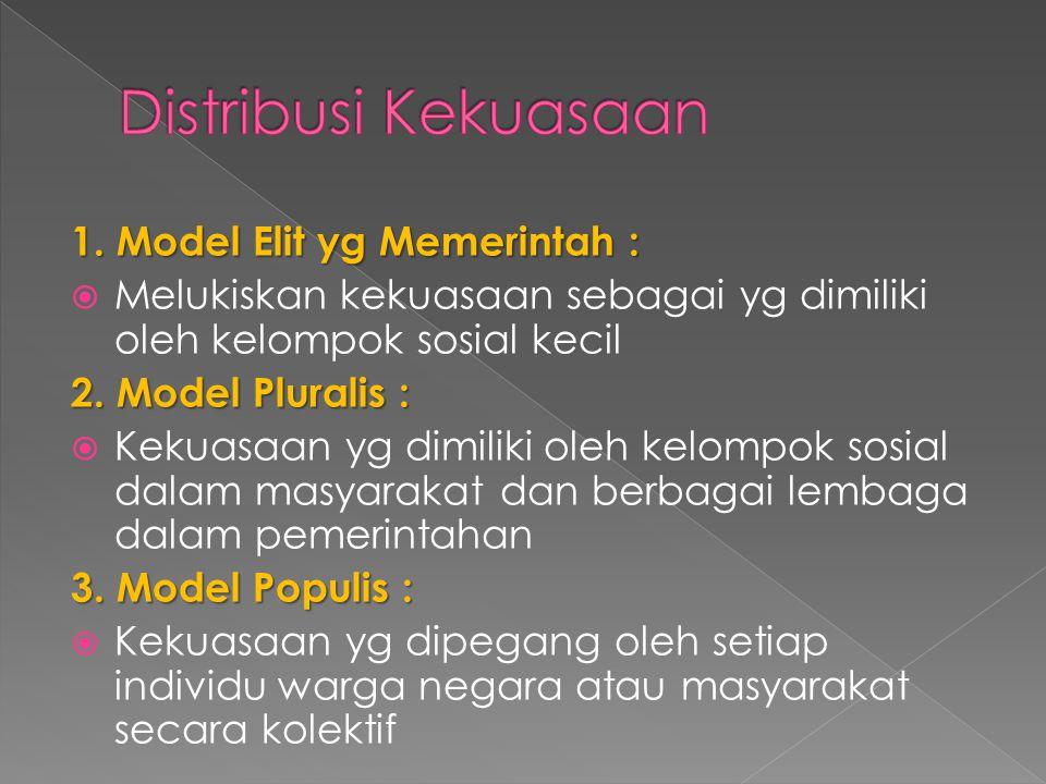 1. Model Elit yg Memerintah :  Melukiskan kekuasaan sebagai yg dimiliki oleh kelompok sosial kecil 2. Model Pluralis :  Kekuasaan yg dimiliki oleh k