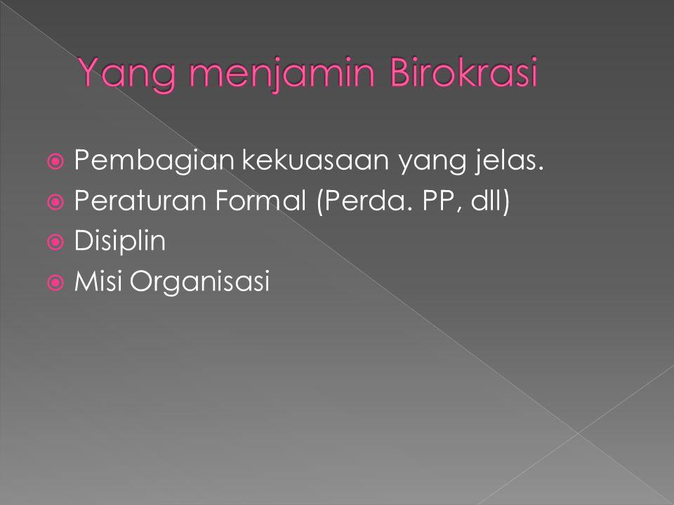  Pembagian kekuasaan yang jelas.  Peraturan Formal (Perda. PP, dll)  Disiplin  Misi Organisasi