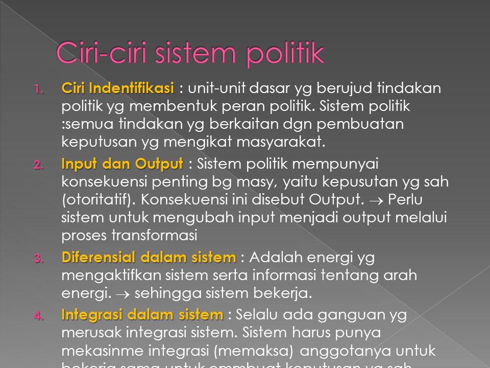 1. Ciri Indentifikasi 1. Ciri Indentifikasi : unit-unit dasar yg berujud tindakan politik yg membentuk peran politik. Sistem politik :semua tindakan y