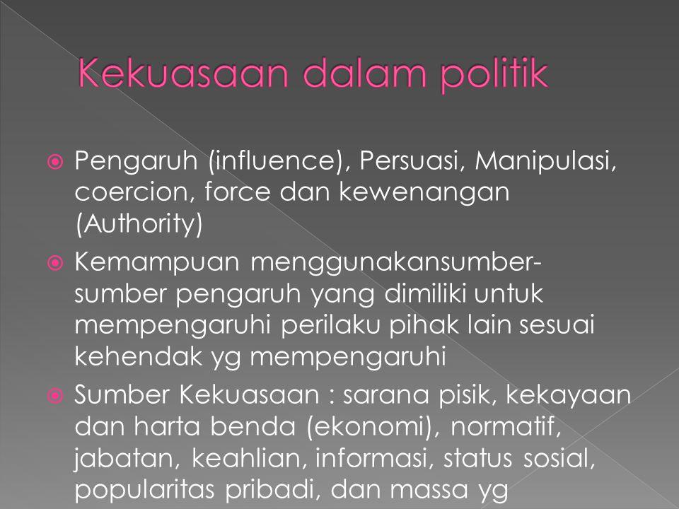  Berusaha memahami bagaimana keputusan2 yang sah dibuat dan dilaksanakan oleh masyarakat.
