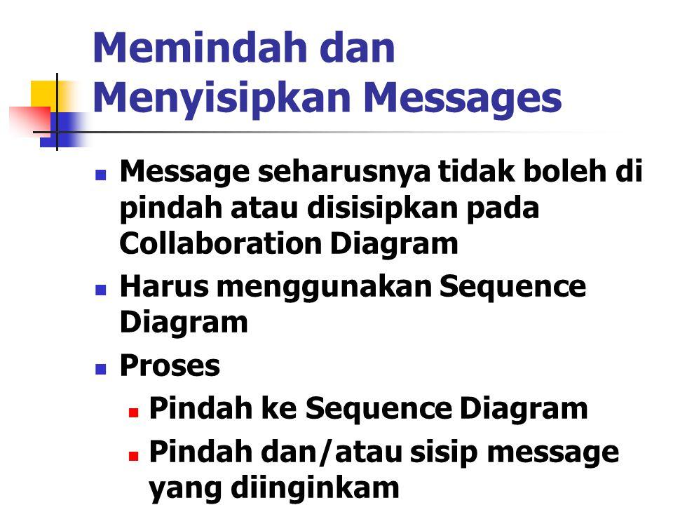 Memindah dan Menyisipkan Messages Message seharusnya tidak boleh di pindah atau disisipkan pada Collaboration Diagram Harus menggunakan Sequence Diagr