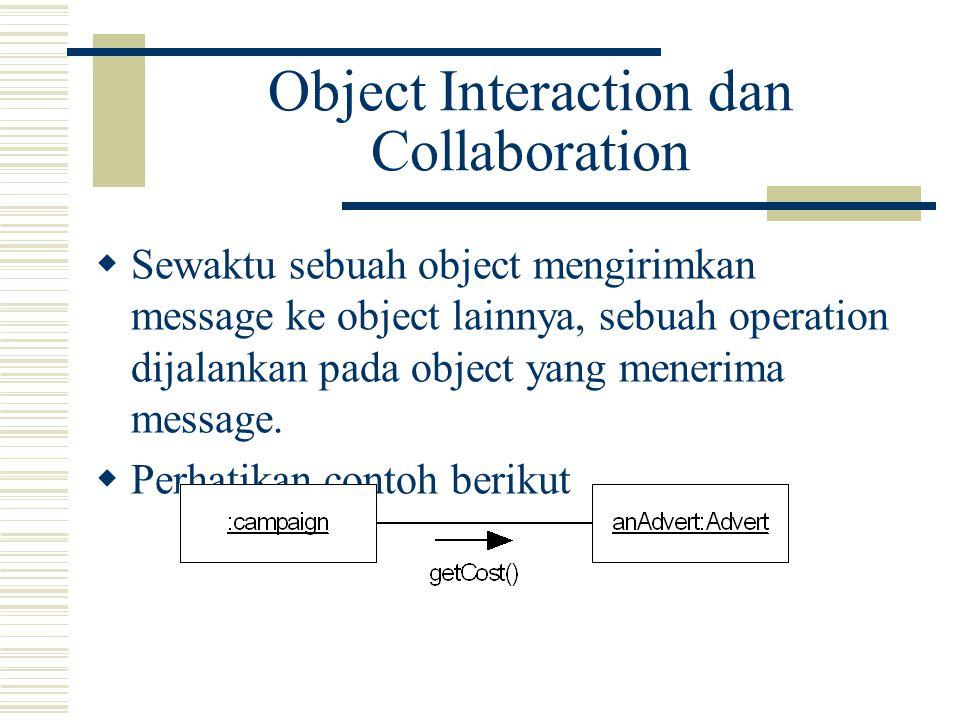 Object Interaction dan Collaboration  Sewaktu sebuah object mengirimkan message ke object lainnya, sebuah operation dijalankan pada object yang menerima message.