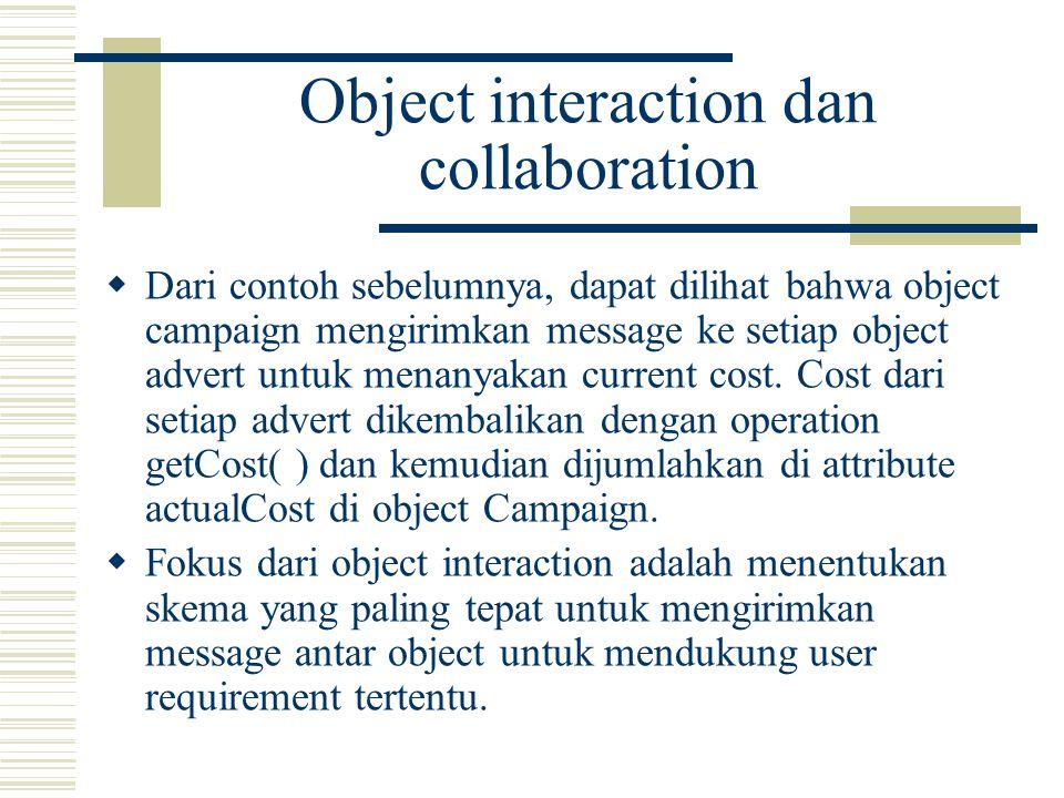  Dikarenakan tidak ada dimensi waktu pada collaboration diagram, sehingga untuk urutan pengiriman message diwakili dengan nomor.
