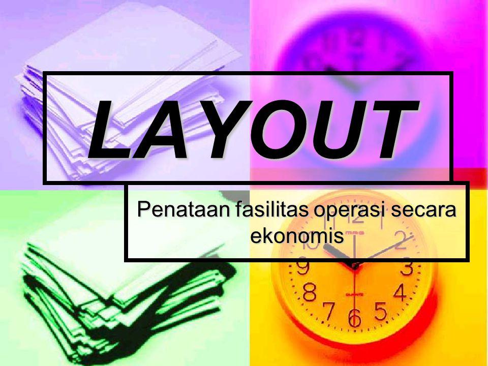 TIPE LAYOUT Layout Fungsional/Proses : penataan fasilitas operasi berdasarkan fungsi dari fasilitas operasi.