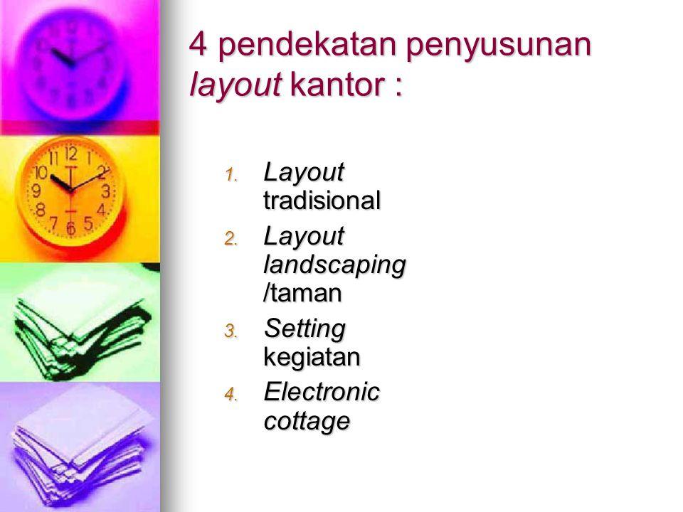 4 pendekatan penyusunan layout kantor : 1. Layout tradisional 2. Layout landscaping /taman 3. Setting kegiatan 4. Electronic cottage