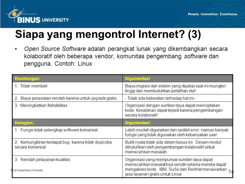 Bina Nusantara University 14 Siapa yang mengontrol Internet? (3) Open Source Software adalah perangkat lunak yang dikembangkan secara kolaboratif oleh