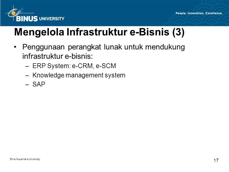 Bina Nusantara University 17 Mengelola Infrastruktur e-Bisnis (3) Penggunaan perangkat lunak untuk mendukung infrastruktur e-bisnis: –ERP System: e-CRM, e-SCM –Knowledge management system –SAP