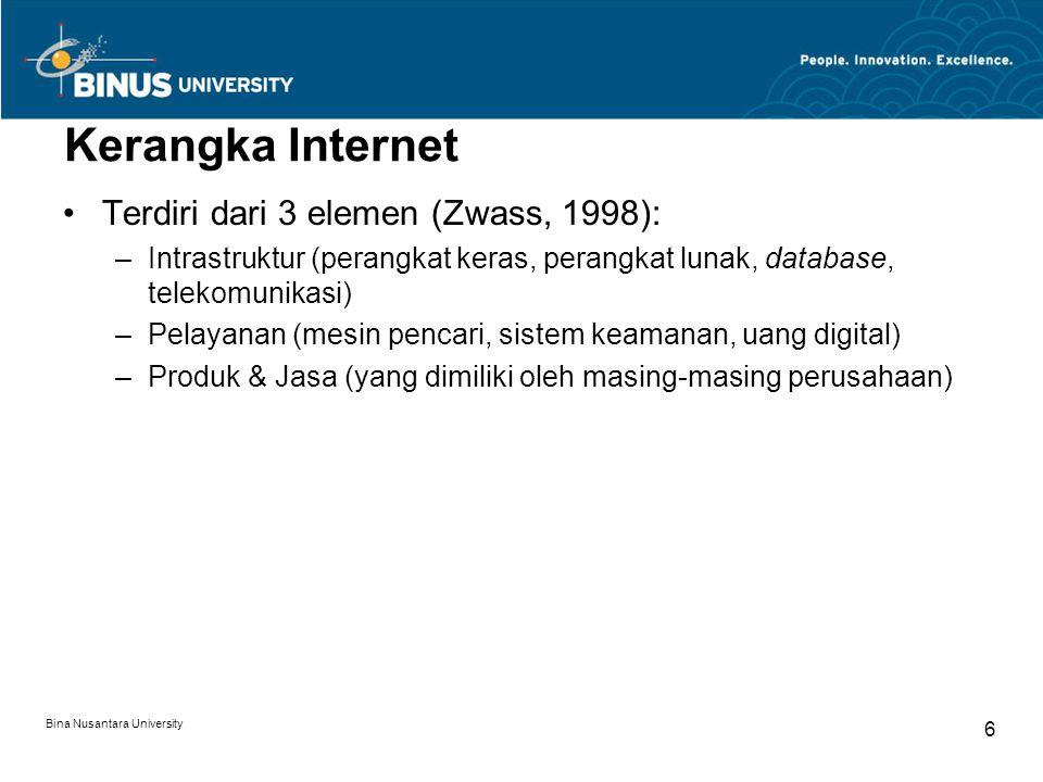 Bina Nusantara University 6 Kerangka Internet Terdiri dari 3 elemen (Zwass, 1998): –Intrastruktur (perangkat keras, perangkat lunak, database, telekomunikasi) –Pelayanan (mesin pencari, sistem keamanan, uang digital) –Produk & Jasa (yang dimiliki oleh masing-masing perusahaan)
