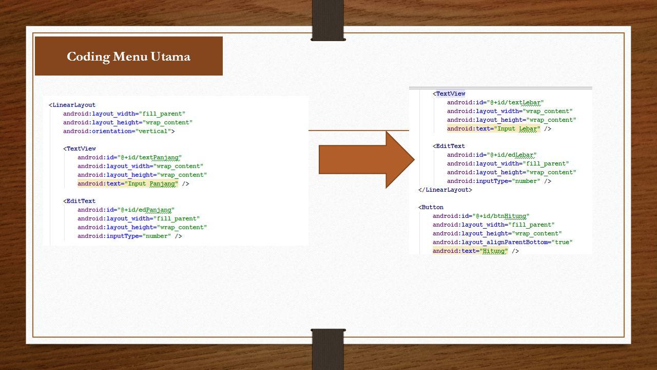 Coding Menu Utama