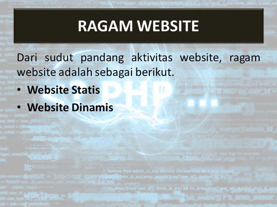 Dari sudut pandang aktivitas website, ragam website adalah sebagai berikut. Website Statis Website Dinamis RAGAM WEBSITE