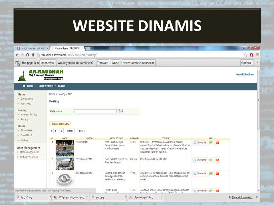 Sistem Informasi Berbasis Web WEBSITE DINAMIS