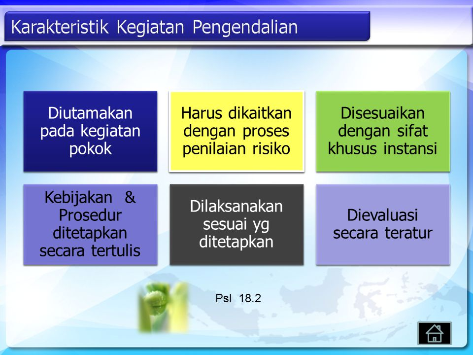 Diutamakan pada kegiatan pokok Harus dikaitkan dengan proses penilaian risiko Disesuaikan dengan sifat khusus instansi Kebijakan & Prosedur ditetapkan secara tertulis Dilaksanakan sesuai yg ditetapkan Dievaluasi secara teratur Psl 18.2