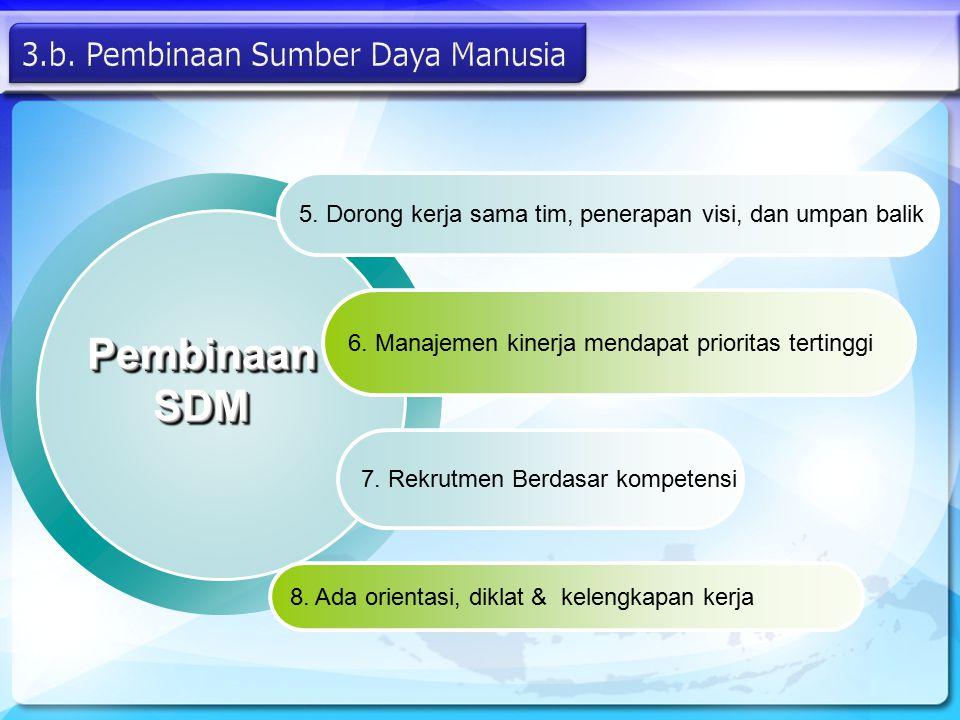 Pembinaan SDM 5. Dorong kerja sama tim, penerapan visi, dan umpan balik 6. Manajemen kinerja mendapat prioritas tertinggi 7. Rekrutmen Berdasar kompet