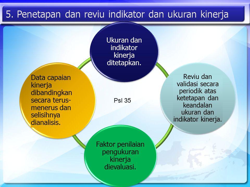 Ukuran dan indikator kinerja ditetapkan. Reviu dan validasi secara periodik atas ketetapan dan keandalan ukuran dan indikator kinerja. Faktor penilaia
