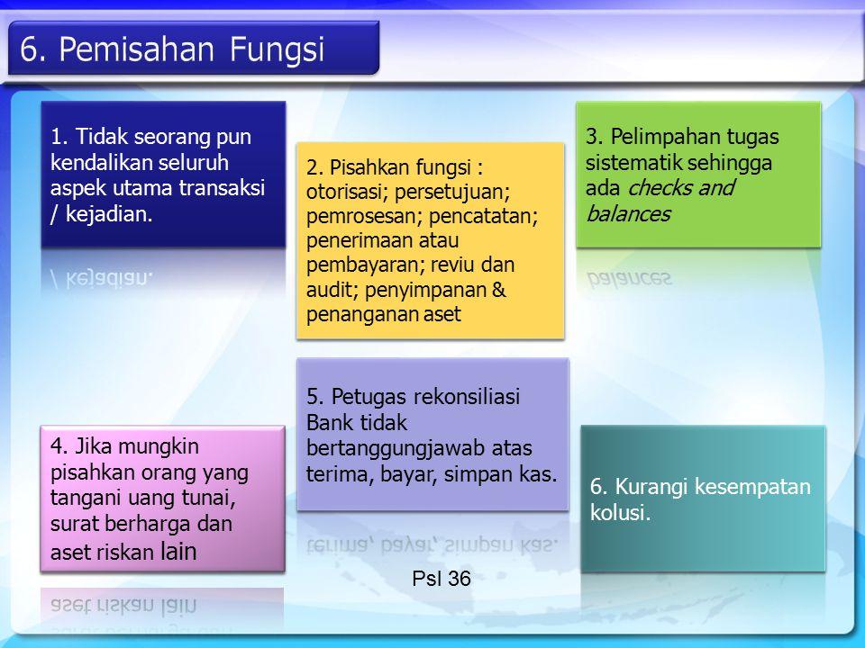 2. Pisahkan fungsi : otorisasi; persetujuan; pemrosesan; pencatatan; penerimaan atau pembayaran; reviu dan audit; penyimpanan & penanganan aset Psl 36