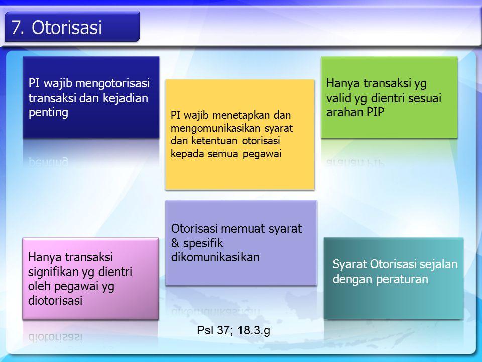 PI wajib menetapkan dan mengomunikasikan syarat dan ketentuan otorisasi kepada semua pegawai Psl 37; 18.3.g