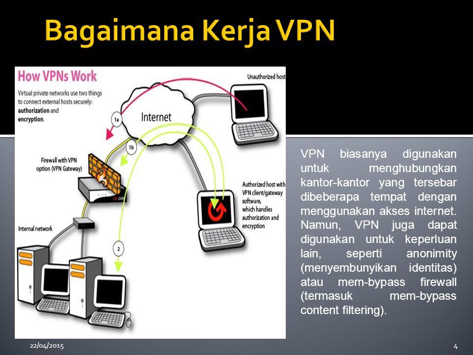 4 VPN biasanya digunakan untuk menghubungkan kantor-kantor yang tersebar dibeberapa tempat dengan menggunakan akses internet. Namun, VPN juga dapat di