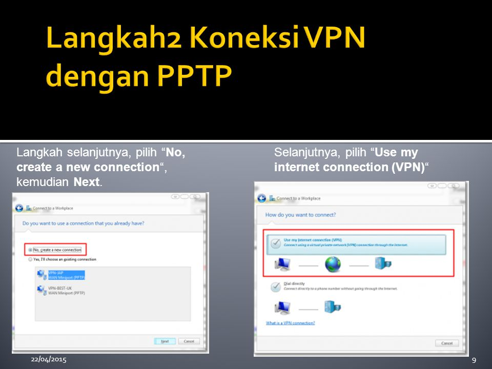 "22/04/20159 Langkah selanjutnya, pilih ""No, create a new connection"", kemudian Next. Selanjutnya, pilih ""Use my internet connection (VPN)"""