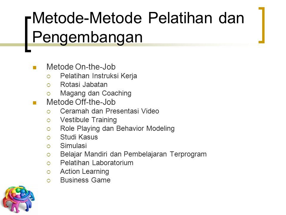 Metode-Metode Pelatihan dan Pengembangan Metode On-the-Job  Pelatihan Instruksi Kerja  Rotasi Jabatan  Magang dan Coaching Metode Off-the-Job  Cer