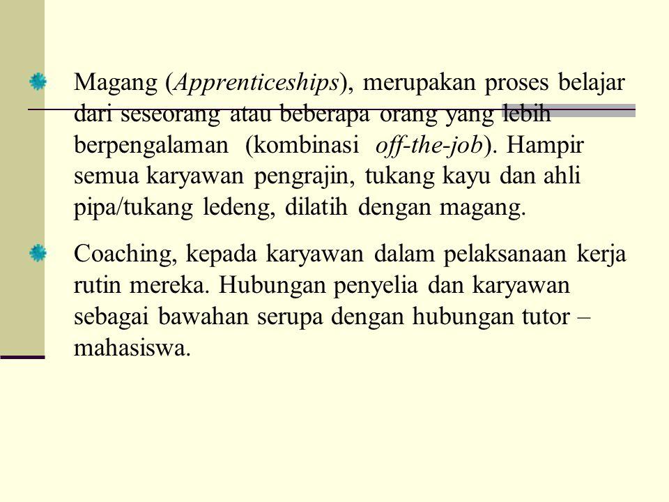 Magang (Apprenticeships), merupakan proses belajar dari seseorang atau beberapa orang yang lebih berpengalaman (kombinasi off-the-job). Hampir semua k