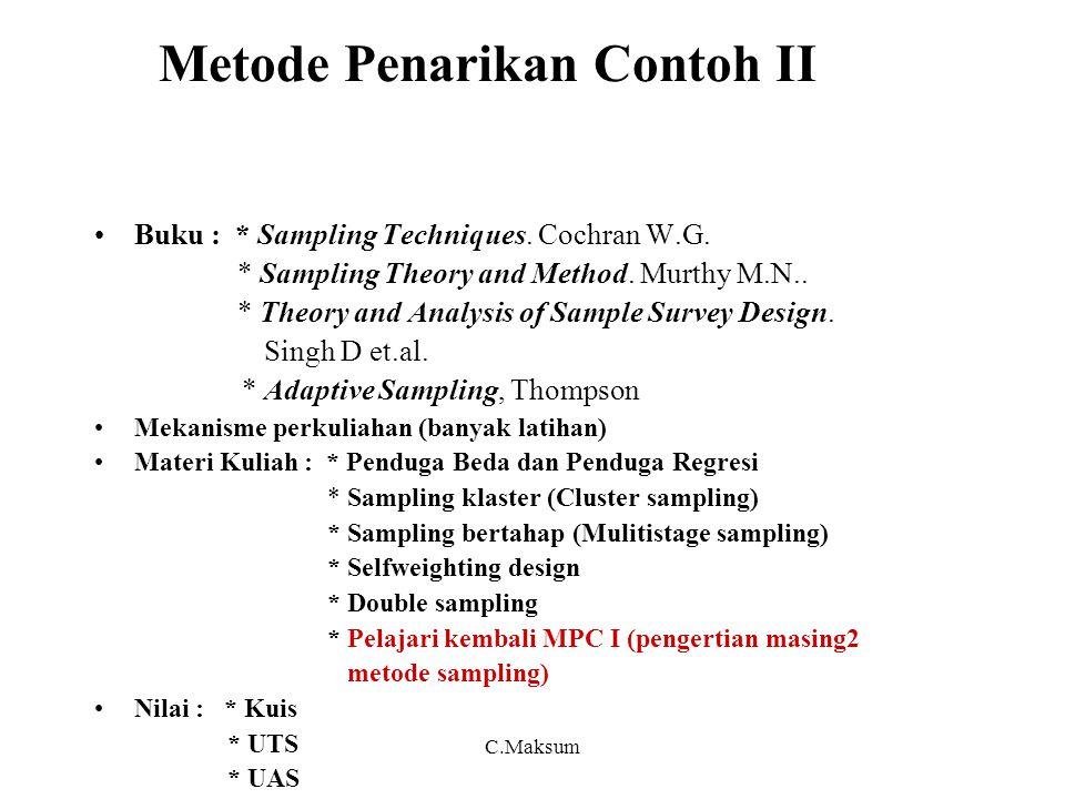 C.Maksum Metode Penarikan Contoh II Buku : * Sampling Techniques. Cochran W.G. * Sampling Theory and Method. Murthy M.N.. * Theory and Analysis of Sam