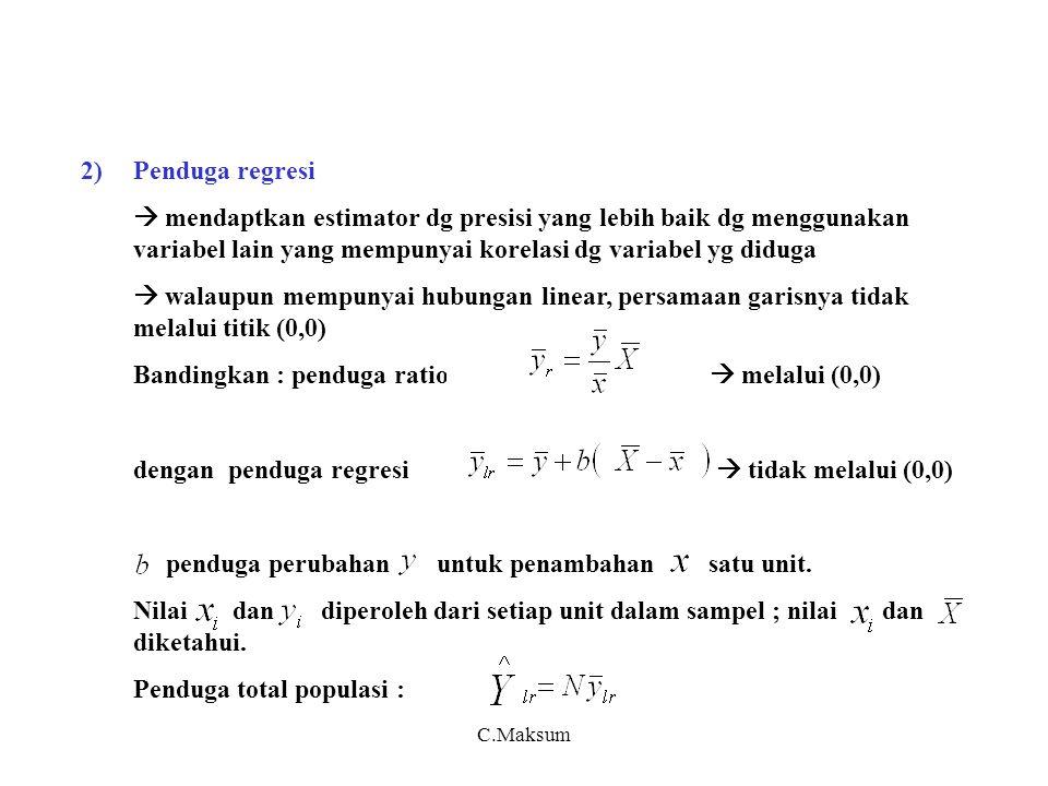 C.Maksum 2)Penduga regresi  mendaptkan estimator dg presisi yang lebih baik dg menggunakan variabel lain yang mempunyai korelasi dg variabel yg diduga  walaupun mempunyai hubungan linear, persamaan garisnya tidak melalui titik (0,0) Bandingkan : penduga ratio  melalui (0,0) dengan penduga regresi  tidak melalui (0,0) penduga perubahan untuk penambahan satu unit.