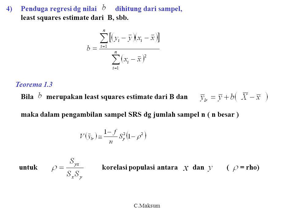 C.Maksum 4)Penduga regresi dg nilai dihitung dari sampel, least squares estimate dari B, sbb.