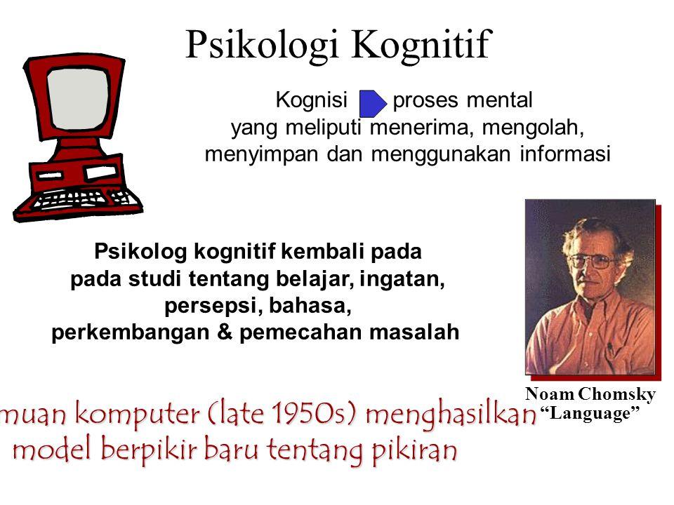 """Psikologi Kognitif Noam Chomsky """"Language"""" Penemuan komputer (late 1950s) menghasilkan model berpikir baru tentang pikiran Psikolog kognitif kembali p"""