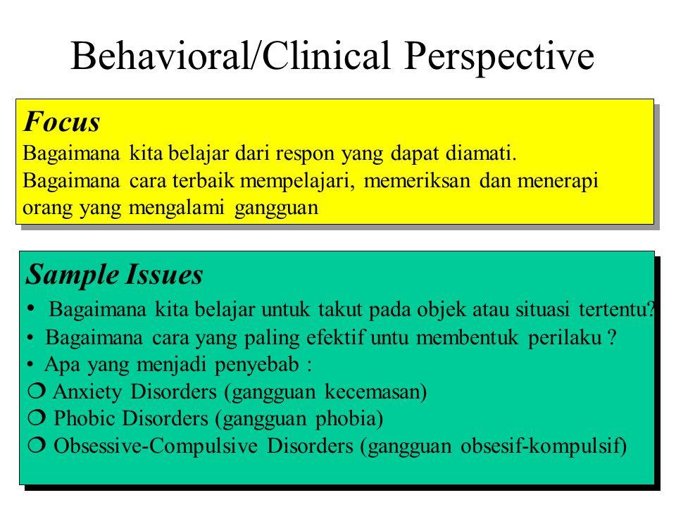 Behavioral/Clinical Perspective Focus Bagaimana kita belajar dari respon yang dapat diamati. Bagaimana cara terbaik mempelajari, memeriksan dan menera