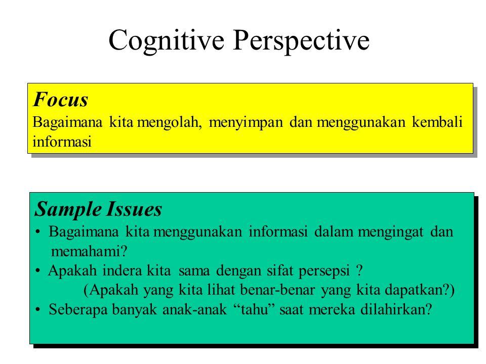Cognitive Perspective Focus Bagaimana kita mengolah, menyimpan dan menggunakan kembali informasi Focus Bagaimana kita mengolah, menyimpan dan mengguna