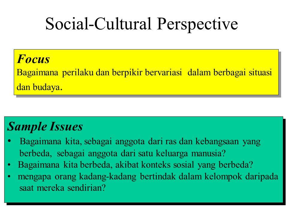 Social-Cultural Perspective Focus Bagaimana perilaku dan berpikir bervariasi dalam berbagai situasi dan budaya. Focus Bagaimana perilaku dan berpikir