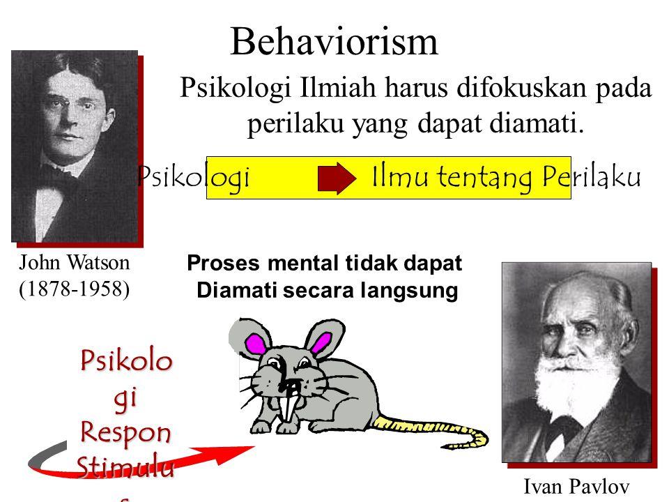 Behaviorism Psikologi Ilmiah harus difokuskan pada perilaku yang dapat diamati. John Watson (1878-1958) Ivan Pavlov Psikologi Ilmu tentang Perilaku Ps