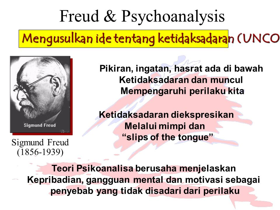 """Ketidaksadaran diekspresikan Melalui mimpi dan """"slips of the tongue"""" Freud & Psychoanalysis Sigmund Freud (1856-1939) Mengusulkan ide tentang ketidaks"""