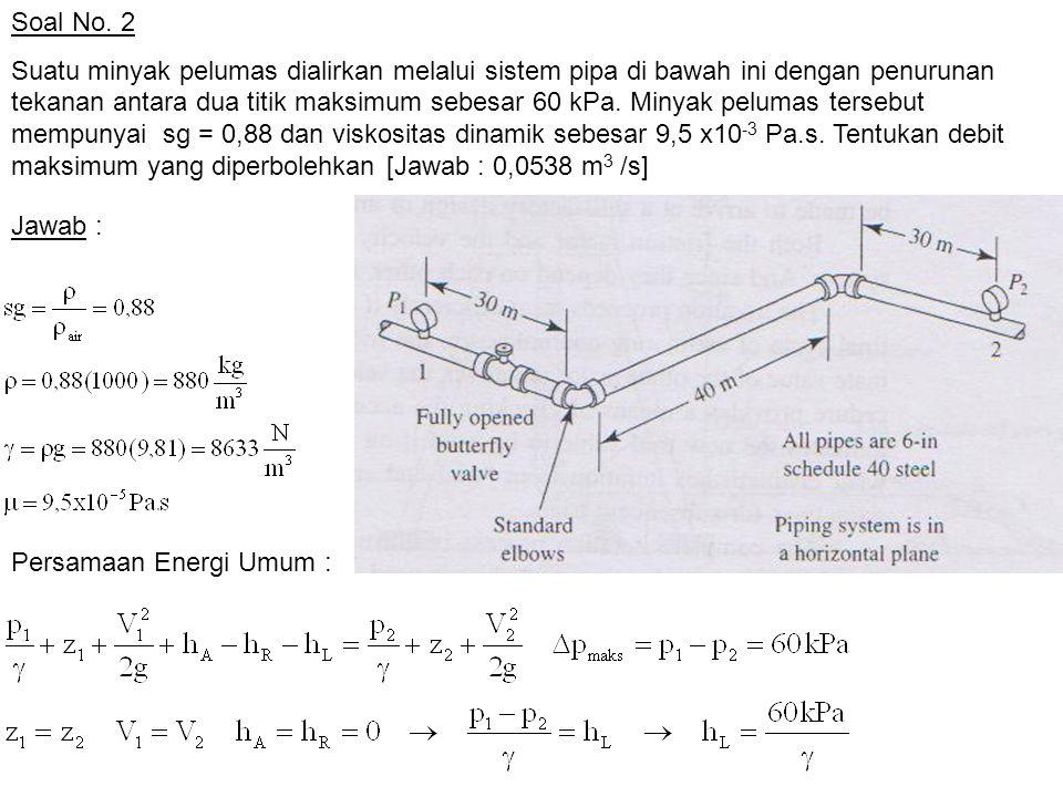 Soal No. 2 Suatu minyak pelumas dialirkan melalui sistem pipa di bawah ini dengan penurunan tekanan antara dua titik maksimum sebesar 60 kPa. Minyak p