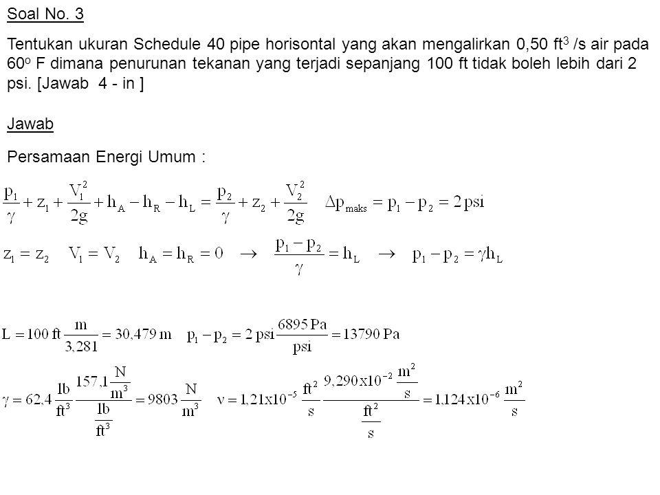 Soal No. 3 Tentukan ukuran Schedule 40 pipe horisontal yang akan mengalirkan 0,50 ft 3 /s air pada 60 o F dimana penurunan tekanan yang terjadi sepanj