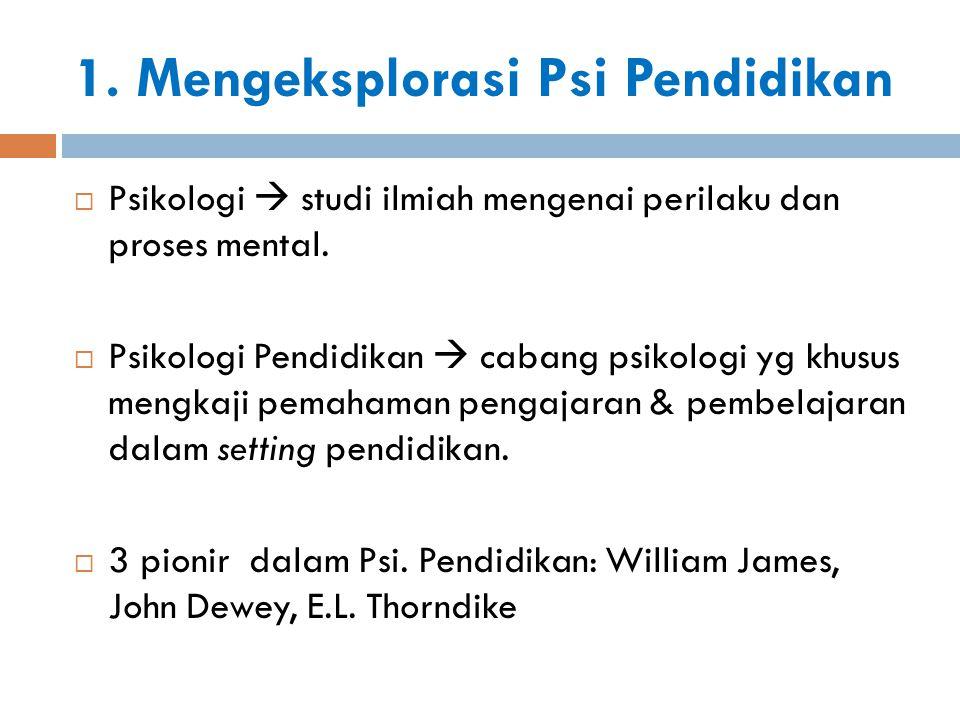 1. Mengeksplorasi Psi Pendidikan  Psikologi  studi ilmiah mengenai perilaku dan proses mental.  Psikologi Pendidikan  cabang psikologi yg khusus m